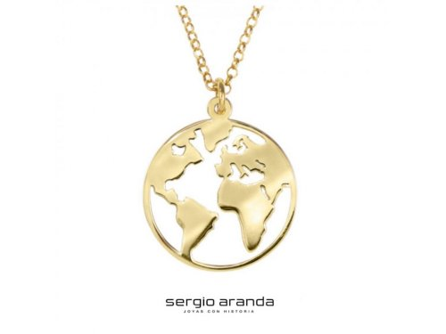 Sergio Aranda Joyas con Historia - Colgante Mundo en plata y baño de oro