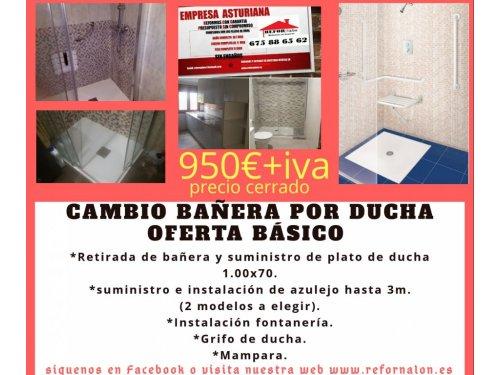 cambio de bañera por plato de ducha en asturias -Refornalon