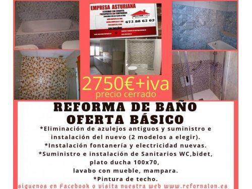 Reforma de baños en Oviedo, Gijón, Avilés, Mieres, Langreo, San Martín del Rey Aurelio