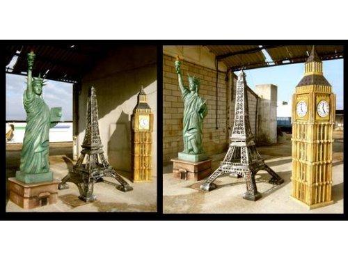 Reproducción de monumentos y estatuas para centros comerciales, eventos, exposiciones. Estatua de la Libertad, Big Ben y Torre Eiffell