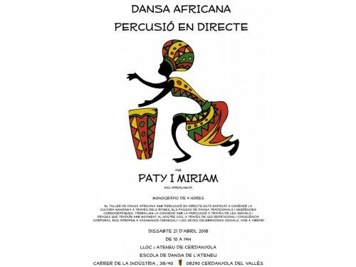 Cerdanyola, taller de dansa africana 21 dabril 10h a 14h