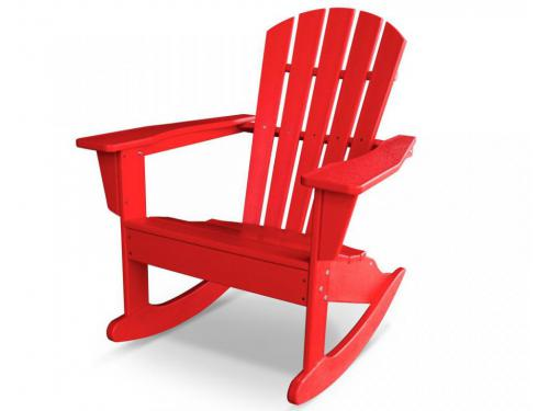 CASA BRUNO South Beach II Adirondack mecedora, HDPE poly-madera, rojo