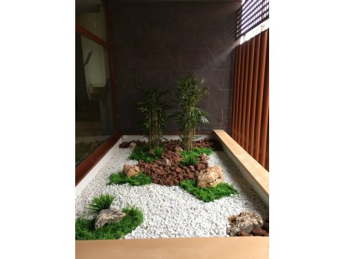 Jardín con Planta Artificial