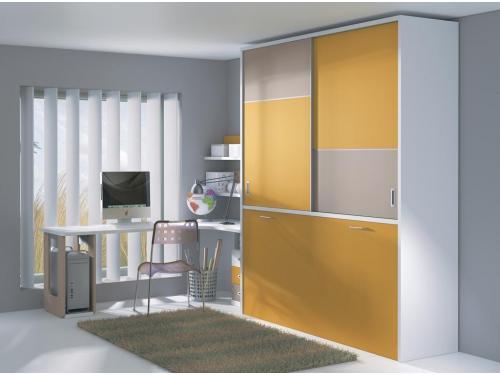 cama abatible horizontal con armario puertas correderas