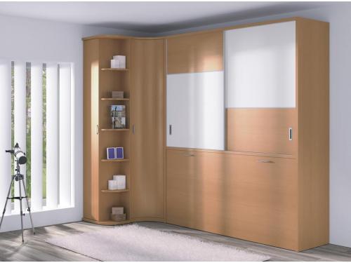 cama abatible horizontal con armario puertas correderas y armario rincón