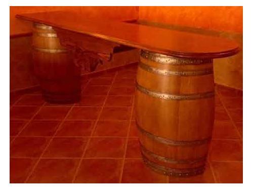 Mostrador de barricas de roble restauradas