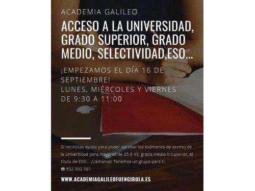 Accesos a Universidad, grado Superior + 25 años....